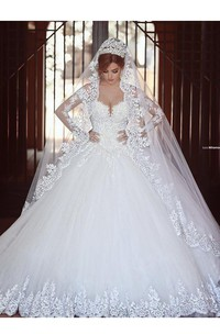 Lace Ball Gown Tulle Long Sleeves Off-the-shoulder Court Train Wedding Dresses