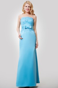 Satin Floor Length Strapless Dress With Beaded Lace Bodice and Bow