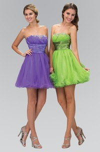 A-Line Short Strapless Sleeveless Tulle Corset Back Dress With Ruffles And Beading