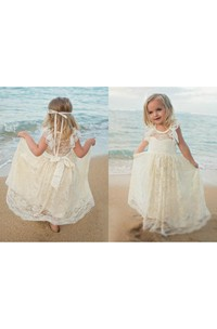 Flower Girl Scoop Neckline Allover Lace Floor Length Dress