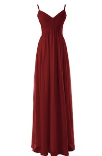 Spaghetti Straps Empire Long Dress With Basque Waist