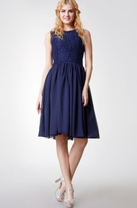 Glamorous Jewel Neck Pleated Knee Length Chiffon Dress With Satin Sash