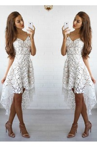 A-line Sleeveless Lace Spaghetti High-low Homecoming Dress