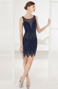 Scoop Neck Sleeveless Sheath Short Prom Dress With Beading And Sequin Lines