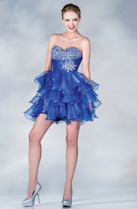 A-Line Short Sweetheart Sleeveless Organza Dress With Beading And Ruffles