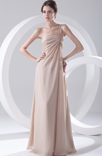 One-Strap Floor-Length Chiffon Dress With Pleating