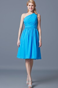 Vintage One Shoulder Ruched Knee Length Chiffon Dress With Sash