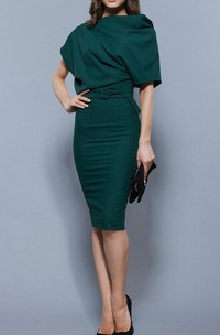 Oversize Top Sheath Jersey Knee Length Dress With Belt