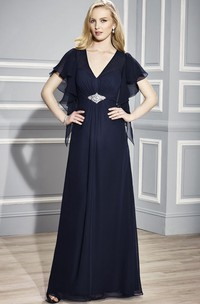 V-Neck Poet Sleeve Jeweled Chiffon Mother Of The Bride Dress With Draping