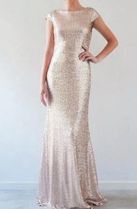 Sequined Cap Sleeve Floor-Length Dress With Low-V Back