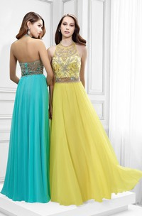 High Neck Sleeveless Crystal Tulle Prom Dress