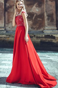 A-Line Court Train Jewel Sleeveless Satin Appliques Pleats Low-V Back Dress