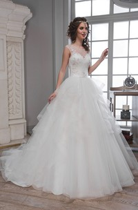 A-Line Long Scoop Sleeveless Deep-V-Back Tulle Dress With Ruffles And Beading