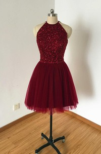 Burgundy Tulle Short Dress With Kayhole Back And Beading
