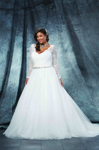 Ball Gown Floor-Length V-Neck Long Sleeve Tulle Criss Cross Waist Jewellery Court Train Illusion Criss cross Dress