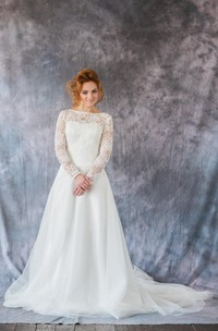 Long Sleeve Lace and Organza A-Line Dress With Bateau Neckline