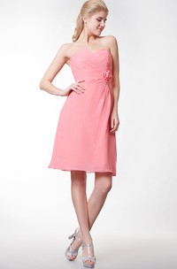 Sweetheart Empire Chiffon Short Dress With Flower
