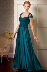 Cap-Sleeved Long Mother Of The Bride Dress With Appliques And Illusion Back