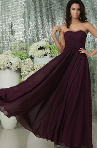 Floor-Length Sweetheart Chiffon Dress With Pleating