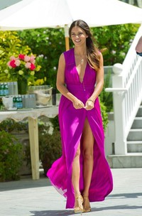 Sexy Deep V-neck Womens Prom Dresses 2018 Long Chiffon Slit Evening Party Gowns on Sale