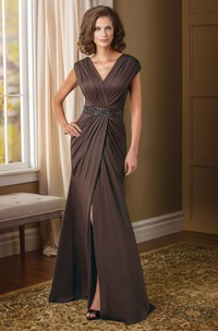 Cap-Sleeved V-Neck Mother Of The Bride Dress With Front Slit And Sequins