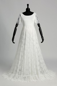 A-line Scoop Illusion Short Sleeve Floor-length Satin Lace Maternity Wedding Dress with Sweep/Brush Train