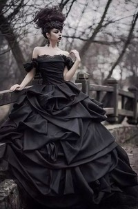 Ball Gown Taffeta Off-the-shoulder Sleeveless Floor-length Wedding Dress with Cascading Ruffles and Ruching