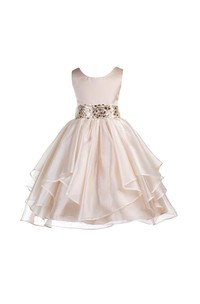 Scoop Neckline Sleeveless Layered Organza Ball Gown With Sequined Sash
