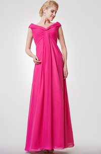 Classic V-neck Cap-sleeved A-line Chiffon Long Dress With Pleats