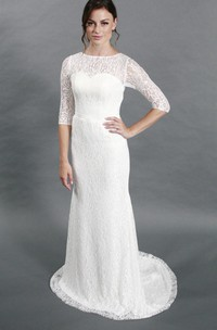 Column Half Sleeve Jewel Neck Lace Dress With Illusion Back