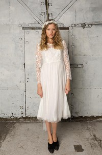 Lace and Tulle Tea Length Dress With Long Sleeves and Bateau Neck