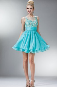 A-Line Short Bateau Sleeveless Chiffon Dress With Appliques And Tiers