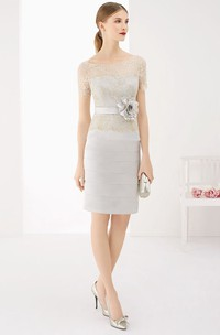 Short Sleeve Knee Length Satin Dress With Layered Skirt And Flower Sash