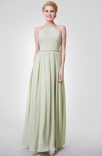 Wonderful A-line Pleated Chiffon Long Dress With Knot Belt