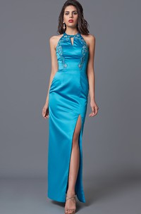 Feminine Sleeveless High Neck Sheath Satin Gown With Floral Beading