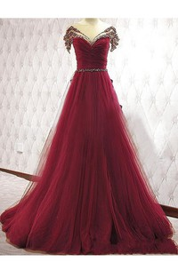 Short-sleeved A-line Ballgown with Sequins and Pleats