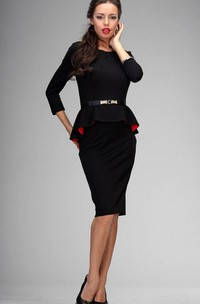 Scoop Neck 3-4 Sleeve Sheath Knee Length Jersey Dress With Beading Belt