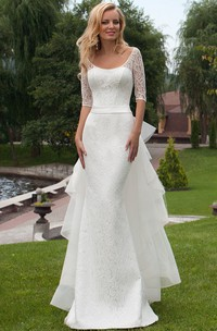 Sheath Scoop Neck Bowed Half Sleeve Lace Wedding Dress