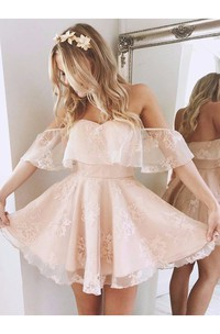 A-line Sleeveless Lace Off-the-shoulder Open Back Short Mini Homecoming Dress