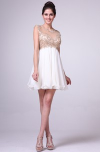A-Line Short Scoop-Neck Cap-Sleeve Empire Illusion Dress With Beading And Pleats