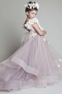 Cute Flower Girl Dress With Ruffles Sash And Flowers