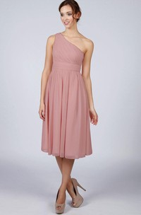 One Shoulder Pleated A-line Chiffon Tea Length Dress Dusky Pink