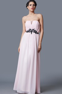 Sleeveless Empire Waist Long Chiffon Dress With Lace Appliqued Belt