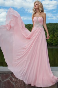 Ruched Strapless Sleeveless Long Chiffon Prom Dress With Beading