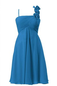 Sleeveless Appliqued Strap Knee-length Layered Chiffon Dress