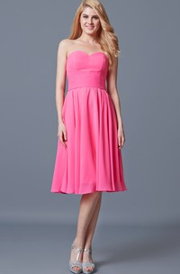 Lovely Strapless Ruched A-line Short Chiffon Dress