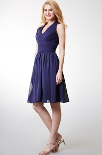 Chic Halter Style Bodice-pleated Layered A-line Chiffon Dress