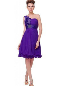 One-shoulder A-line Knee-length Dress With Empire Sash