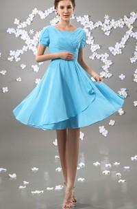 Chiffon Square-Neck Short Sleeve Dress With Ruching