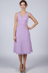 V Neck A-line Chiffon Knee Length Dress With V Back
